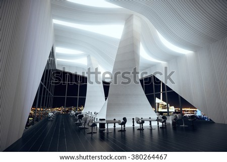 Modern restaurant hall with abstract interior, wooden floor, big windows and night city view 3D Render