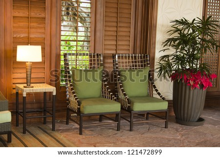 Modern restaurant interior with two chairs