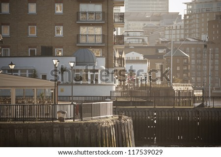 Modern riverside apartments in London, UK