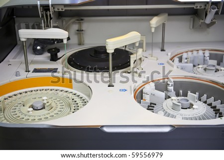 modern robotical machine for centrifuge blood and urine testing