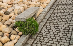 Modern rockery with garden path made of natural stone pavement and solid granite garden bench