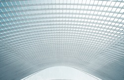 Modern roof in futuristic interior with concrete arches in perspective
