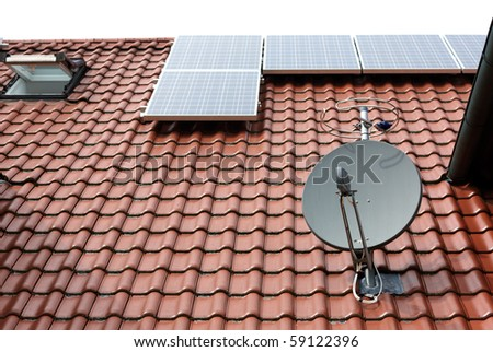 modern roof with satellite dish and solar panels