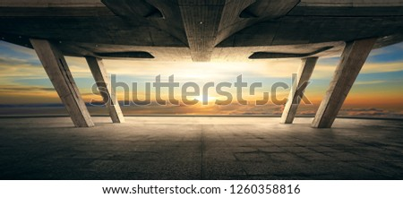 Modern rooftop balcony and sunrise sky view background