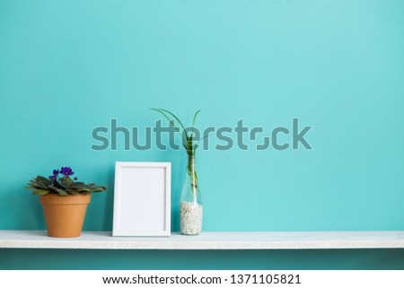 Modern room decoration with Picture frame mockup. White shelf against pastel turquoise wall with spider plant cuttings in water and violet.