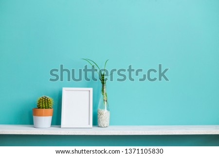 Modern room decoration with Picture frame mockup. White shelf against pastel turquoise wall with spider plant cuttings in water and cactus.