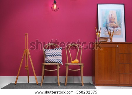 Modern room interior with chairs #568282375