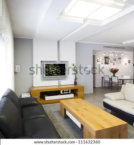 Modern room with plasma tv #111632360