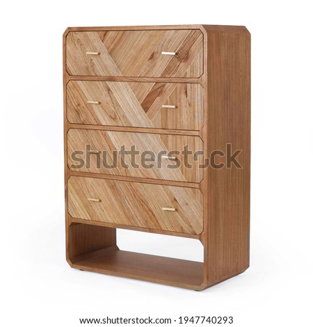 Modern 4 Roomy Drawer Chest Isolated on White. Side View Wooden Fore Doors Bedroom Chest of Drawer Table from Natural White Cedar Solid Brass Hardware. Wood Dresser Mirror. Bureau Cabinet Stockfoto ©