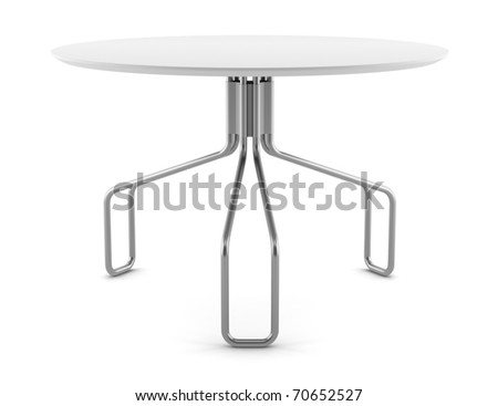 modern round table isolated on white background - stock photo