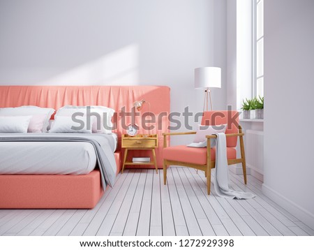 Modern Scandinavia style ,coral and white bedroom decor concept ,3d rendering