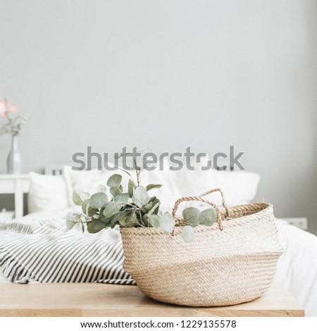 Modern scandinavian apartment interior design. Bed and eucalyptus branch. #1229135578