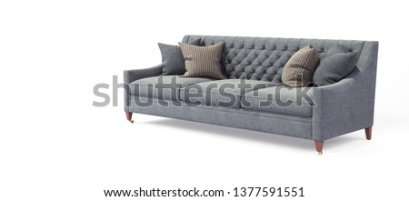 Modern scandinavian classic gray sofa with legs with pillows on isolated white background. Furniture, interior object, stylish sofa.