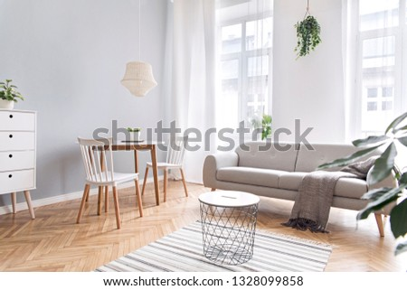Modern scandinavian decor of living room with design furniture, family table, sofa and plants Brown wooden parquet and stylish carpet. Nice and minimalistic apartment. Big windows. Bright and sunny. #1328099858
