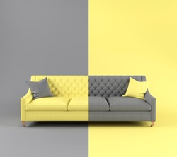 Modern scandinavian fabric sofa with pillow on legs on yellow gray background. Color of year 2021. Illuminating and Ultimate gray. Creative concept furniture, interior object. Color inversion