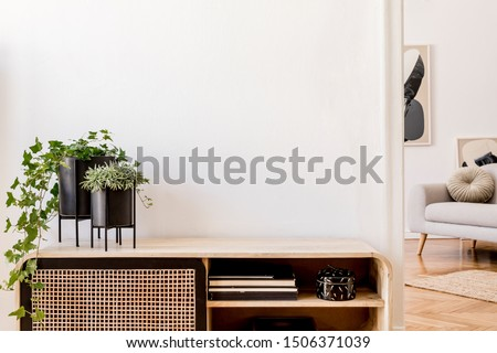 Modern scandinavian home interior with design wooden commode, plants in black pots, gray sofa, books and personal accessories. Stylish home decor. Template. Copy space. White walls.