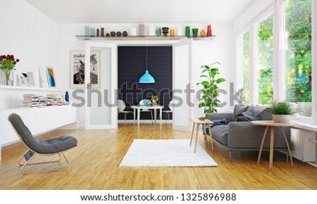modern scandinavian living room design. 3d concept illustration #1325896988