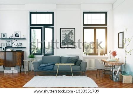 modern scandinavian style living room interior design. 3d illustration concept #1333351709