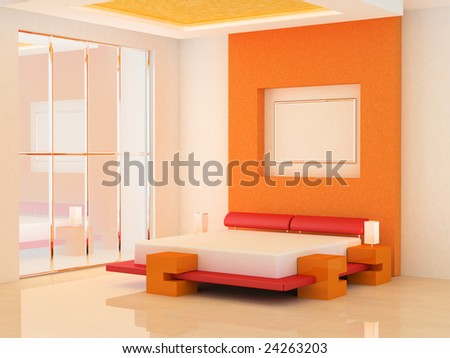 Modern Scene Of Bedroom Interior 3d Stock Photo 2426320