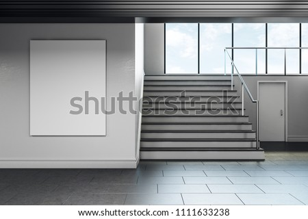 Modern school corridor interior with empty poster on wall. Advertisement concept. Mock up, 3D Rendering