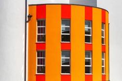 modern school house. modern  building exterior. facade of a modern school, educational institution. Beautiful facade of the building. Painted School.
