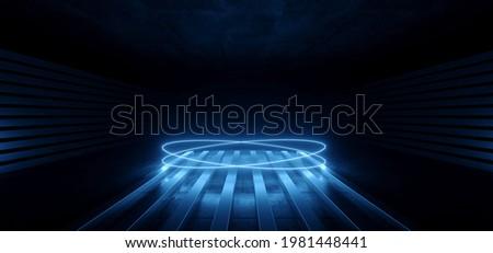 Modern Sci Fi Futuristic Blue Neon Glowing Laser Circle Lights Stage Showroom Underground Catwalk Hangar Technology Background Tunnel Corridor 3D Rendering Illustration