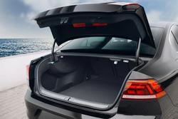 Modern sedan car open trunk. Car boot is open