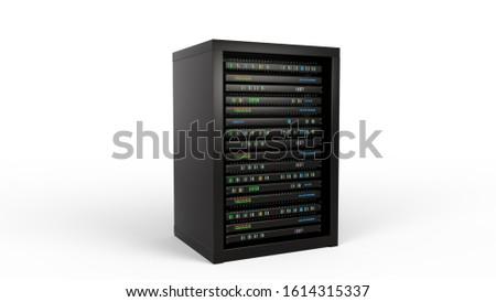Modern server rack. Server rack image. Isolated on white background. 3d render