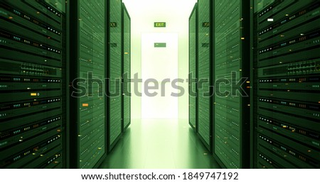 Modern Server Room Environment. Computer Racks All Around With Flying Numbers. Technology Related 3D Illustration Render. stock photo