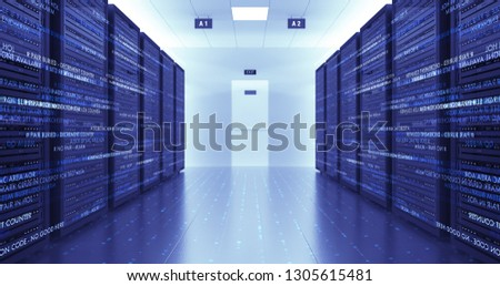 Modern Server Room Environment. Computer Racks All Around With Flying Texts. Technology Related 4K 3D Render. stock photo