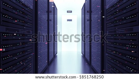 Modern Server Room Environment. Computer Racks All Around With Motion Graphics. Technology Related 3D Illustration Render. stock photo