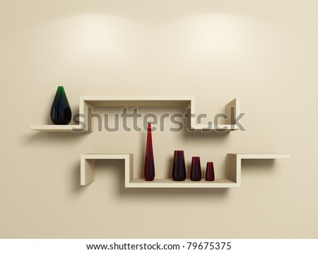 Modern shelves on beige wall with glassy red and green vases.3d rendered.