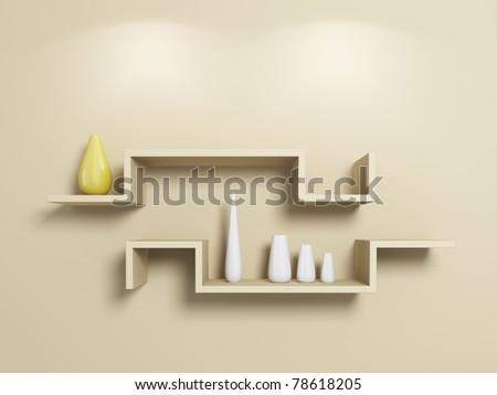 Modern shelves on beige wall with white and yellow vases. 3d rendered.