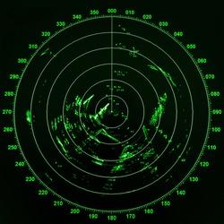 Modern ship radar screen with green round map on black background