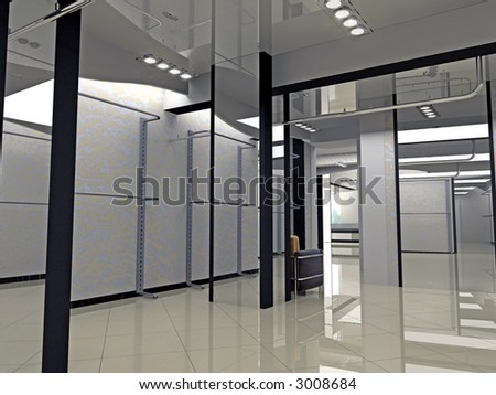 Modern shop interior design computer generated image stock photo