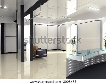 Modern shop interior design computer generated image
