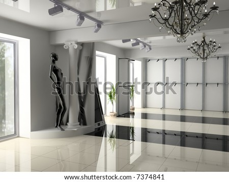 Modern Shop Interior Design (Computer-Generated Image) Stock Photo ...