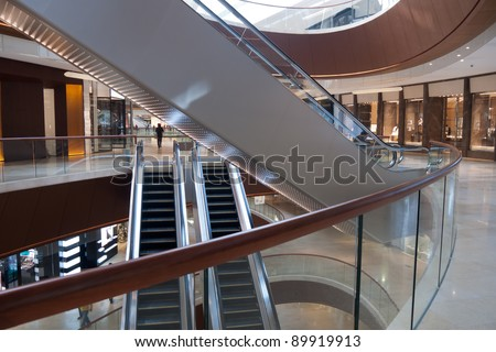 Modern shopping center architecture interior