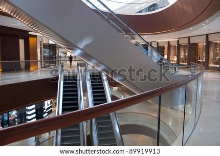 Modern shopping center architecture interior