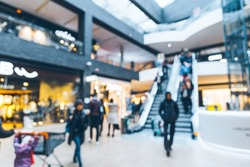 modern shopping center. blurred. out of focus.
