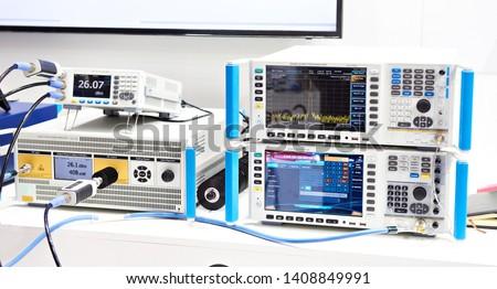 Modern signal generator, spectrum analyzer devices in exhibition