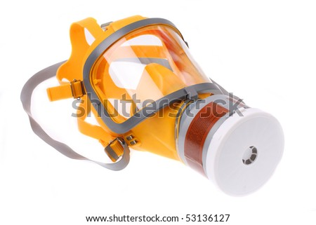 Modern silicone rubber gas mask on white background