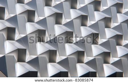 Modern silver facade - stock photo