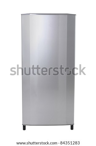 Modern silver refrigerator isolated on white