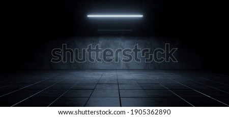 Modern Simple Underground Realistic Light Glowing On Cement Concrete Dark Room Hangar Parking Car Showroom Tiled Floor Background 3D Rendering Illustration