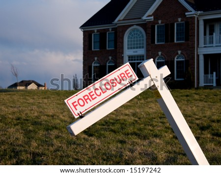 Modern Single Family House with tilted foreclosure sign
