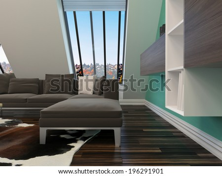 Modern sitting room interior decor with a sloping wall with windows, contemporary lounge suite, parquet floor and wall units mounted on a green wall