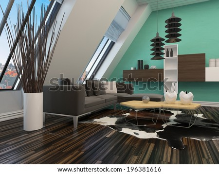 Modern sitting room interior decor with a sloping wall with windows, contemporary lounge suite and lighting, parquet floor and wall units mounted on a green wall