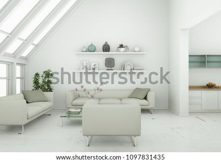 modern skandinavian interior design living room in white style 3d Illustration #1097831435