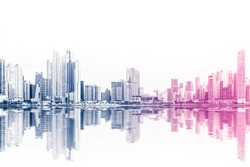 modern skyline abstract style skyscraper buildings on white background